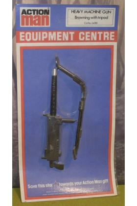 ORIGINAL VINTAGE ACTION MAN CARDED PALITOY EQUIPMENT CENTRE HEAVY MACHINE GUN BROWNING with TRIPOD