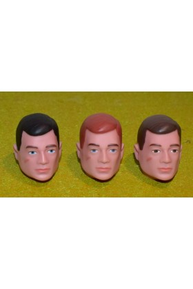 VINTAGE ACTION MAN 40th REPLACEMENT HEAD PAINTED RED BROWN BLACK HAIR SET OF 3