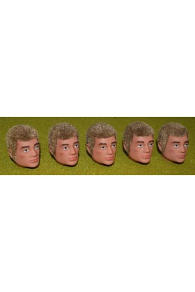 VINTAGE ACTION MAN 40th REPLACEMENT HEAD FLOCKED FUZZY SIDEBURNS BLONDE HAIR X 5
