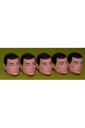 VINTAGE ACTION MAN 40th REPLACEMENT HEAD PAINTED BLACK HAIR X 5
