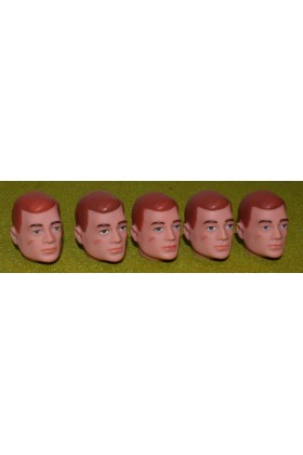 VINTAGE ACTION MAN 40th REPLACEMENT HEAD PAINTED RED HAIR X 5