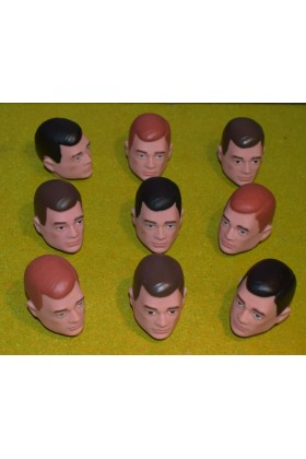VINTAGE ACTION MAN 40th REPLACEMENT HEAD PAINTED RED BROWN BLACK HAIR AS PICTURE