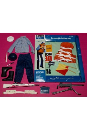 VINTAGE ACTION MAN 40th CARDED NAVY ATTACK w/ SAILOR UNIFORM & ACCESSORIES