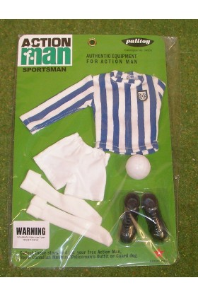 VINTAGE ACTION MAN 40th SPORTSMAN CARDED FOOTBALL CLUB STRIPED BLUE & WHITE
