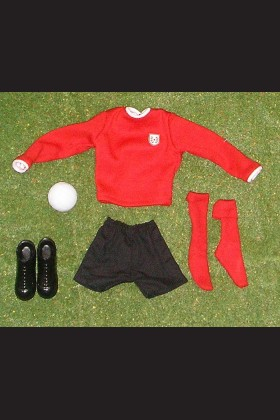 FOOTBALLER - SHIRT RED - SHORTS BLACK - SOCKS RED - BOOTS - FOOTBALL