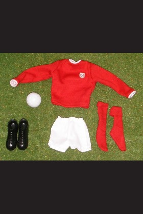 FOOTBALLER - SHIRT RED - SHORTS WHITE - SOCKS RED - BOOTS - FOOTBALL