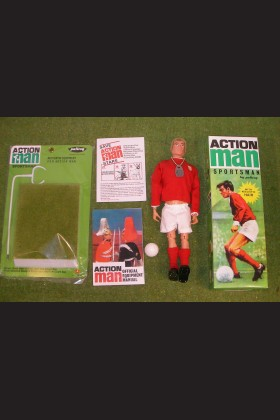 VINTAGE ACTION MAN 40th BOXED SPORTSMAN BLONDE SIDEBURN HARD HANDS & GRASS STAND