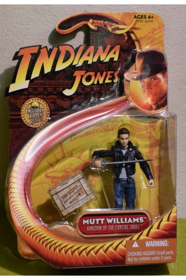 """INDIANA JONES CARDED 3.75"""" KINGDOM OF THE CRYSTAL SKULL MUTT WILLIAMS with SWORD"""
